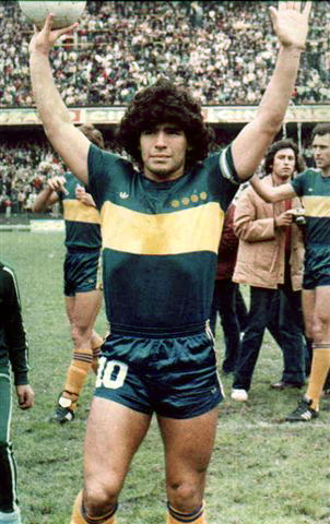 Diego Maradona in Boca kit